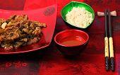 pic of stir fry  - Vietnamese beef stir fry served on a silk table cloth - JPG