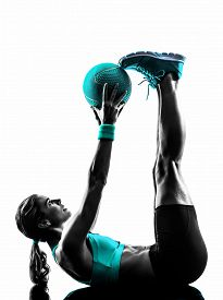 pic of balls  - one caucasian woman exercising Medicine Ball  fitness in studio silhouette isolated on white background - JPG