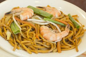 stock photo of lo mein  - Authentic Chinese Shrimp lo mein noodles at a restaurant - JPG
