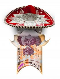 picture of pesos  - Little peso man with Mexican head formed out of a real peso bill - JPG