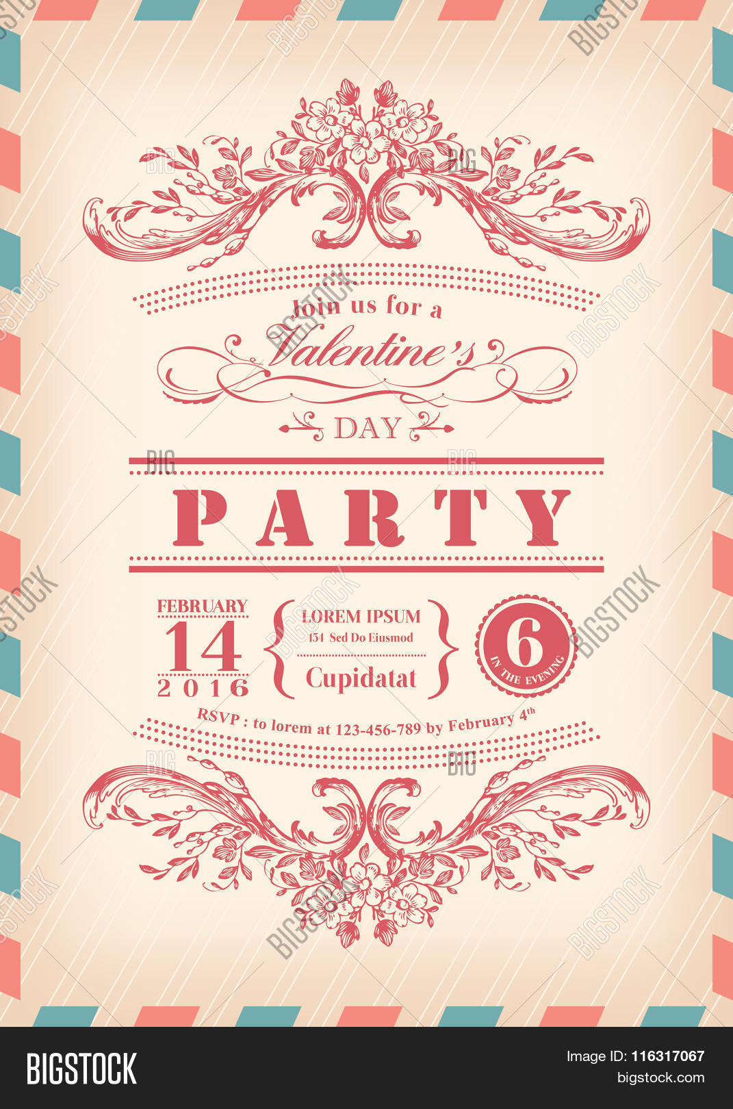 Valentine Day Card Party Vector & Photo | Bigstock