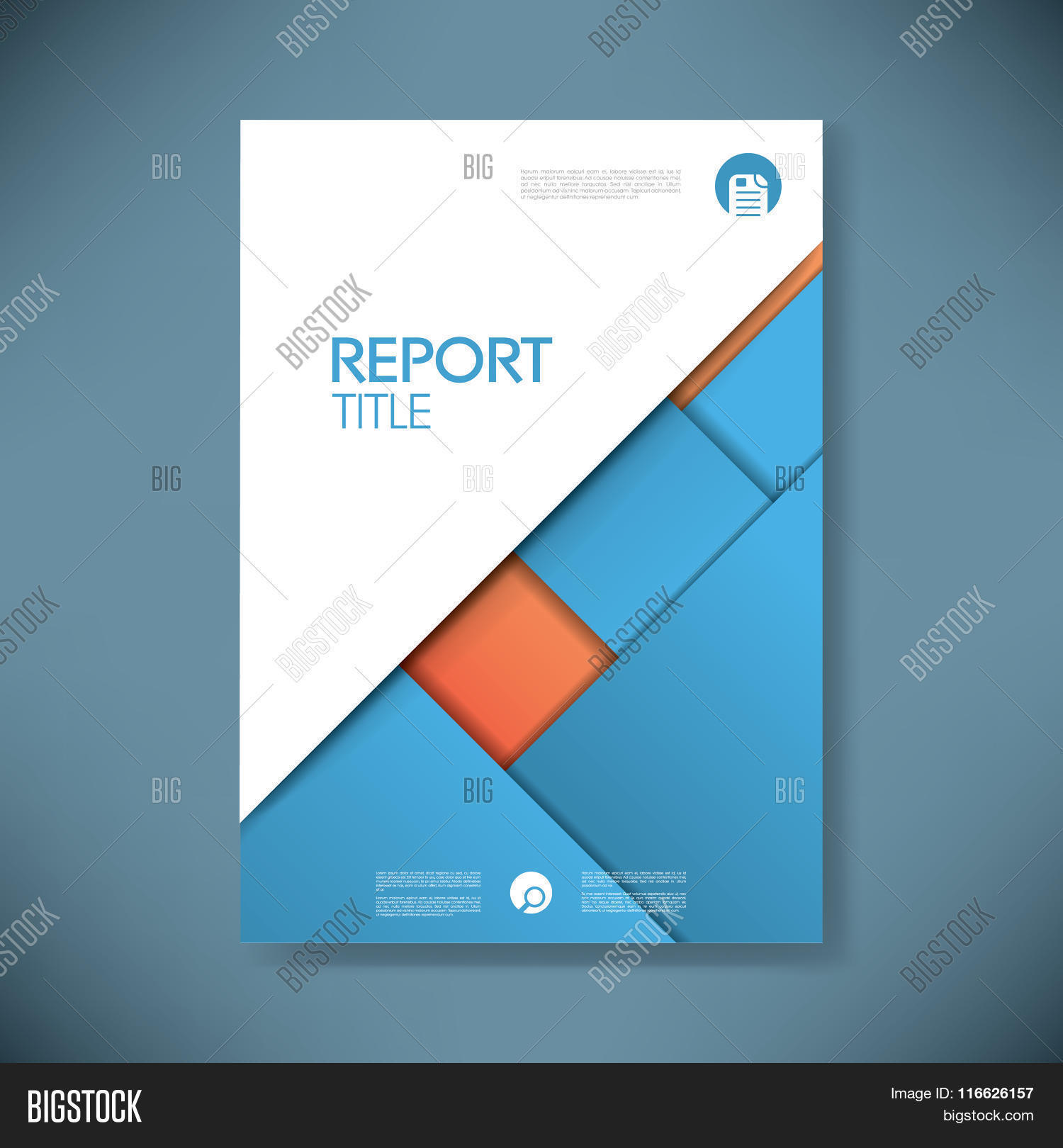 business report cover template on blue material design background business report cover template on blue material design background brochure or presentation title pa