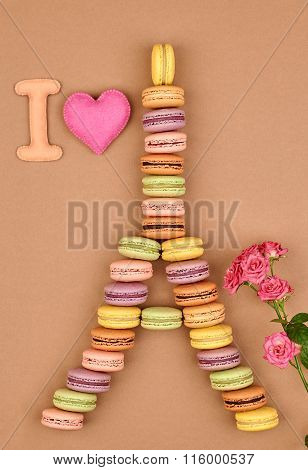 Macarons.I love Eiffel Tower french sweet colorful