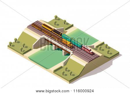 Isometric icon representing train bridge with locomotives