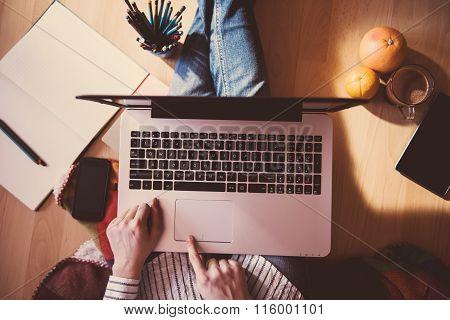 Girl Working On The Floor - Work Office Concept.