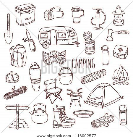 Camping vector hand drawn contour icon set