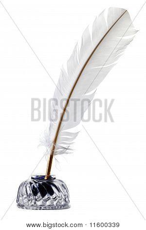 Pluma blanca pluma y tintero aislado