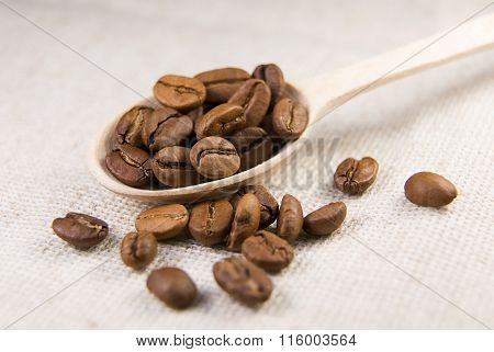 Many Roasted Coffee Beans In The Spoon