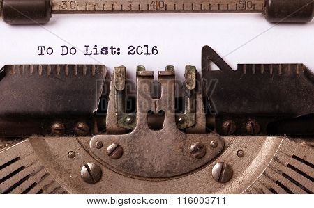 Vintage Typewriter  - To Do List 2016