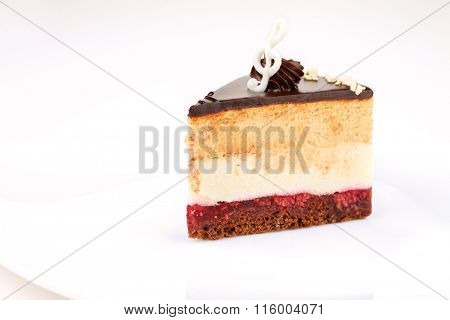 A triangular piece of cake on a white background