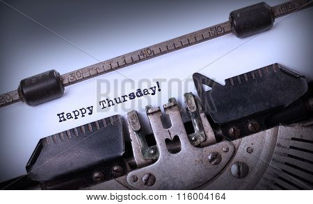 Vintage Typewriter Close-up - Happy Thursday