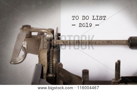 Vintage Typewriter  - To Do List 2019