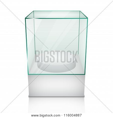 Empty Glass Showcase For Exhibit. Vector Illustration.