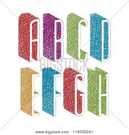Retro Style 3D Thin Tall Condensed Font With Hand Drawn Lines Texture, Letters A B C D E F G H.