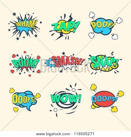 Comics Exclamations, speech bubble Vector Illustration Set