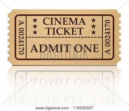 Cinema Ticket Vector Illustration Isolated On White Background