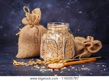 Oatmeal in a glass jar