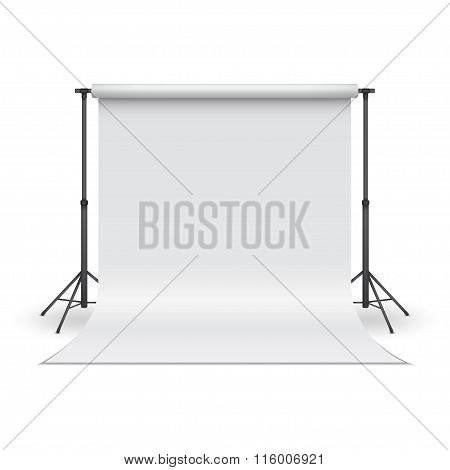 White Paper Studio Backdrop. Vector Illustration.