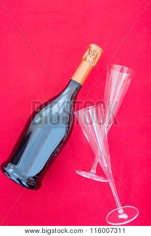 Bottle Of Fizz And Glasses
