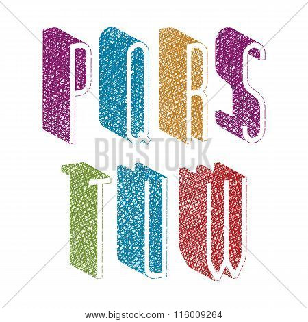 Retro Style 3D Thin Tall Condensed Font With Hand Drawn Lines Texture, Letters P Q R S T U W.