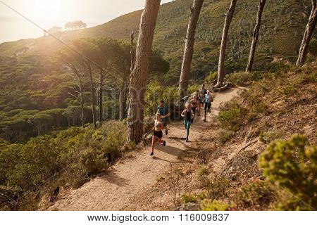 Group Of Athletes Running On Mountain Path.