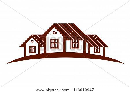Abstract Vector Houses With Horizon Line. Can Be Used In Advertisingl. Real Estate Business Theme.