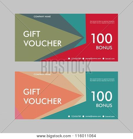 Template gift voucher with abstract pattern. Design for certificates, discounts, special offers