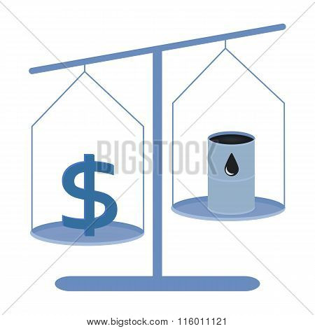Dollar and oil barrel on a scales
