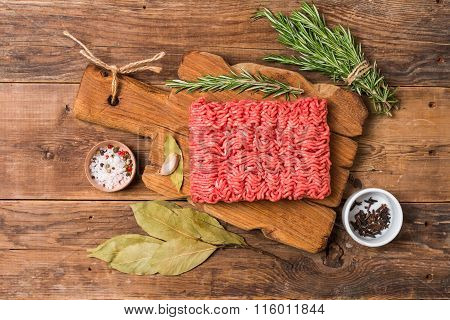Minced Meat  With Seasoning And Fresh Rosemary