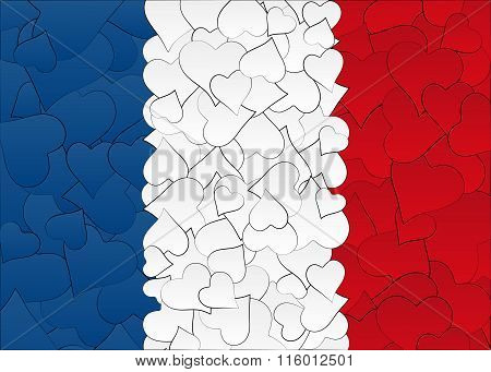 Hearts doodles hand drawn flag France, with love from France, a lot of hearts