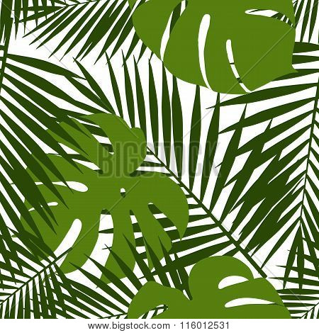 Palm leaf and monstera silhouettes seamless pattern. Vector illustration. Tropical leaves.