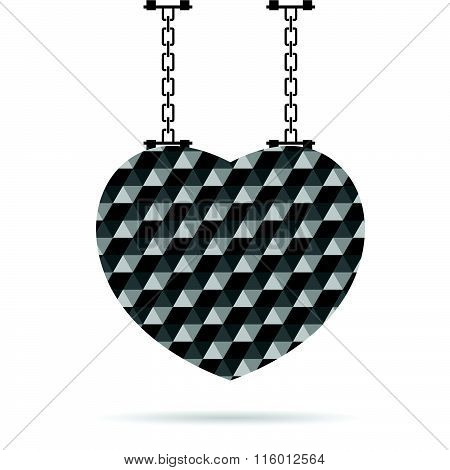 Heart On Chain Illustration In Color