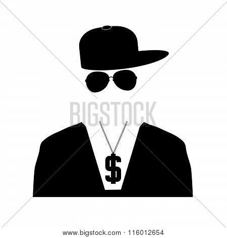 Rap Singer Illustration In Black