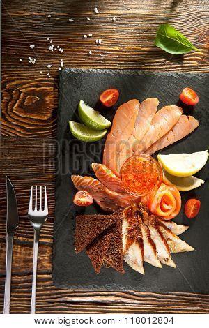 Fish Plate on Black DIsh