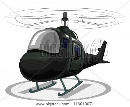 Illustration of a Helicopter Landing on a Helipad
