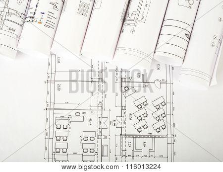 Architectural blueprint rolls on white