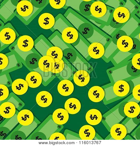 Seamless Pattern With Coins And Banknotes.