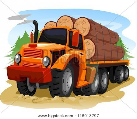 Illustration of a Logging Truck Carrying Timber