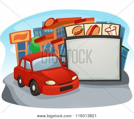 Illustration of a Car at a Drive Thru Restaurant