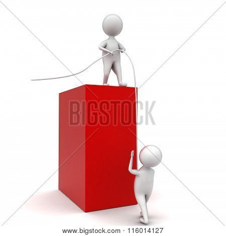 3D Man Helping Another To Climb Upward Concept