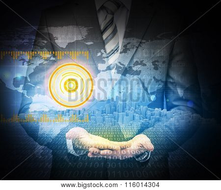 Businessman on abstract blue background