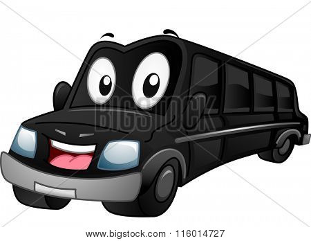 Mascot Illustration of a Black Limousine Flashing a Smile