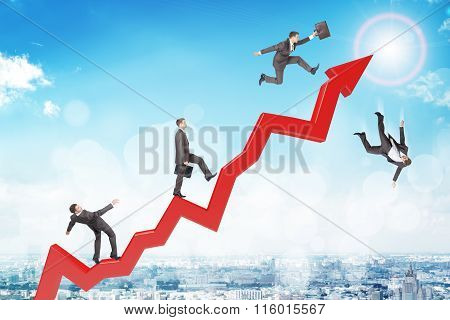 Set of businessmen trying not to fall from arrow