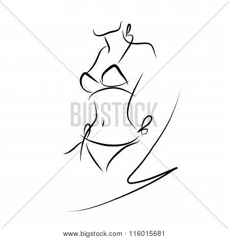 Female Swimsuit, Sketch, Figure, Vector
