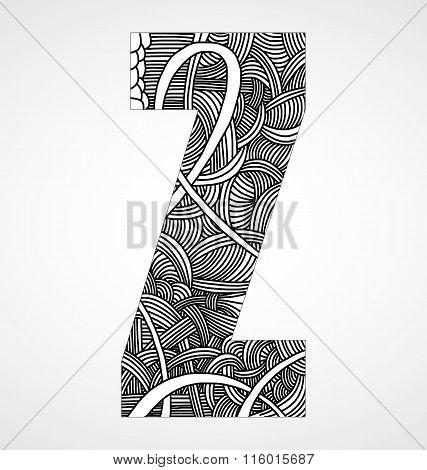 Letter Z from doodle alphabet.