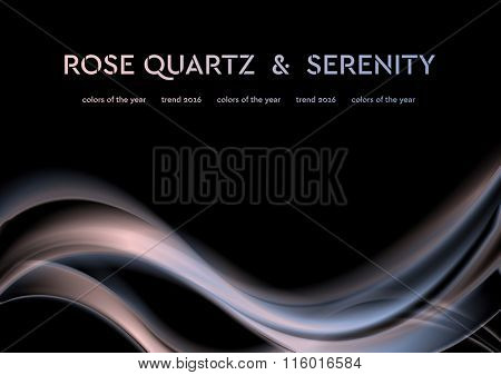 Iridescent vector illustration with smooth waves. Trend colors of the year 2016 rose quartz and serenity. Modern curves background