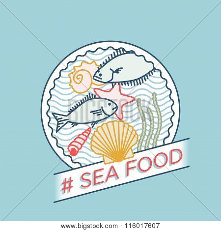 Line Vector Sea Bream Sea Shell Sea Star Halibut Moss Badge