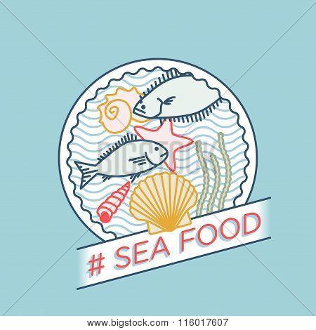 Line Vector Sea Bream Sea Shell Sea Star Halibut Moss Badge