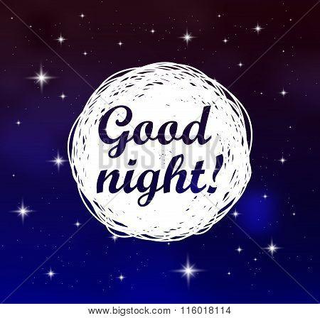Good Night Card On Sky Background