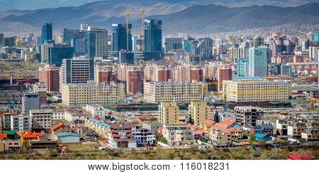 Ulaan-Baator, Mongolia - May 2015: View of Ulan Bator from mountain Zaisan